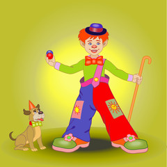 boy in a clown costume with a puppy