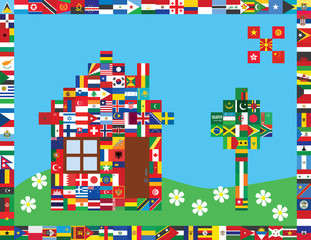 picture made of some of world flags icons as symbol of peace