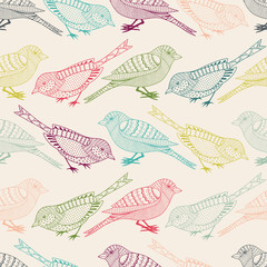 Wall Mural - Seamless pattern with birds