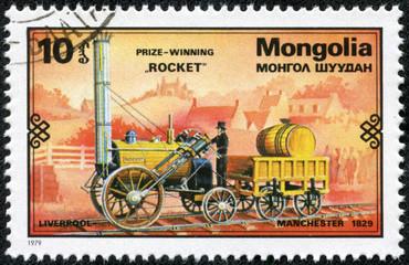 stamp shows Prize-Winning Rocket, Liverpool - Manchester