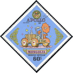 stamp printed by Mongolia, shows Apollo 16 moon rover