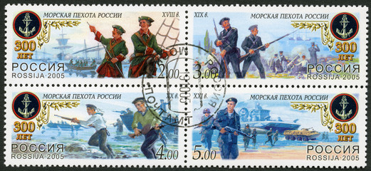 RUSSIA - 2005: dedicated 300th anniv. of Sea Infantry of Russia