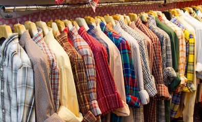 row of colorful row shirts