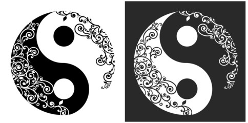 Yin yang two pattern symbol isolated on white, vector