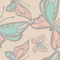 Seamless background of butterflies