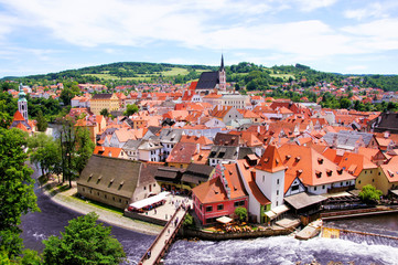 Aerial view over the old Town of Cesky Krumlov, Czech Republic