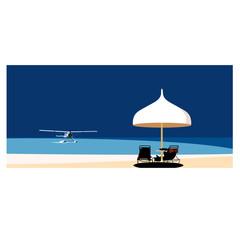 常夏の島と水上飛行機