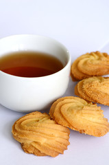 Butter cookies and a cup of tea.
