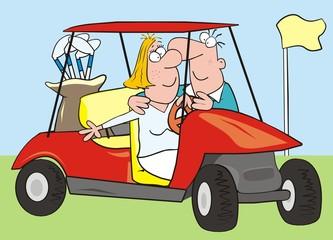 car - golf, couple