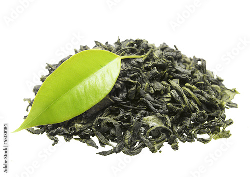 Wall mural Green tea with leaf isolated on white background
