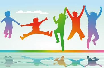 springen und Freude