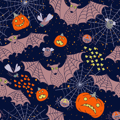 Seamless pattern for a Happy Halloween with bats, spiders, pumpk