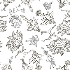 Abstract seamless pattern. Flowers.  vector illustration
