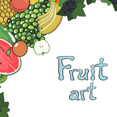 Frame made from fruits. Decoration. vector illustration