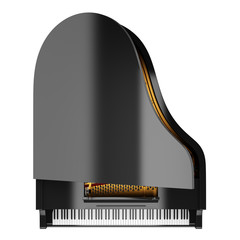 top view of black grand piano isolated on white background