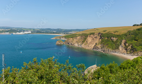 Fototapete View from Polkerris Cornwall England to Par beach
