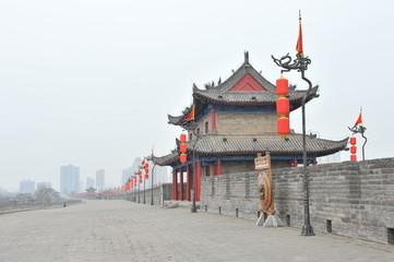 Keuken foto achterwand Xian Ancient tower on city wall in Xi'an - China