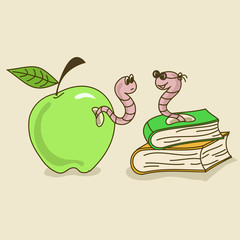 Illustration with apple worm and bookworm