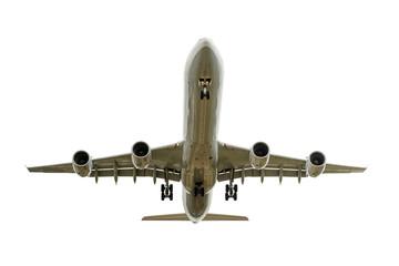 Airbus im Landeanflug freigestellt auf weiss