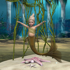 Fotobehang Zeemeermin Little Mermaid