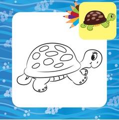 Cartoon turtle. Coloring book. Vector illustration