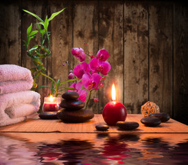 Fototapete - massage - bamboo - orchid, towels, candles stones