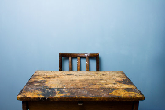 Old wooden desk and chair