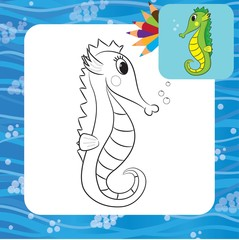 Cartoon sea horse. Coloring book. Vector illustration