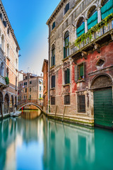 Venice cityscape, water canal, bridge and buildings. Italy - fototapety na wymiar