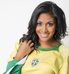 Fototapete - Beautiful happy smiling Brazil soccer fan