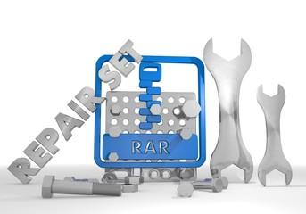 3d graphic of a mechanical rar file symbol repair set