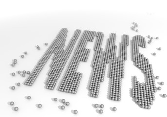 3d render of a bold news label made of tiny spheres