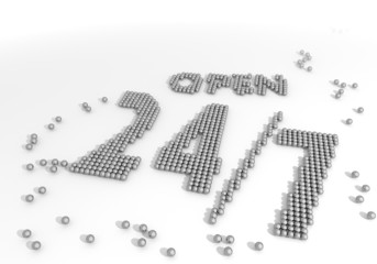 Illustration of a arranged open symbol made of tiny spheres