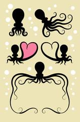 Octopus Silhouette Symbols