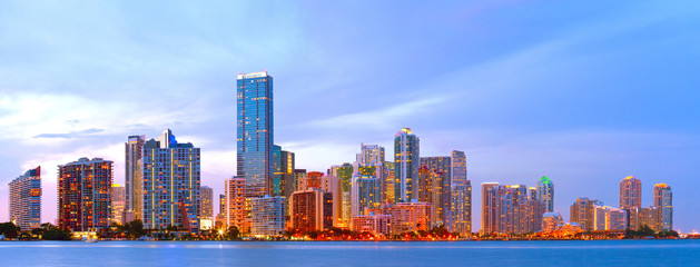City of Miami Florida, colorful night panorama of downtown