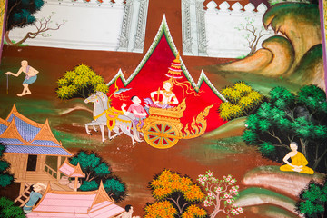 Traditional Thai mural painting of the Life of Buddha on temple