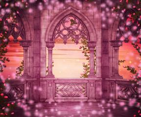 Naklejka premium Tło Fantasy Castle Princess