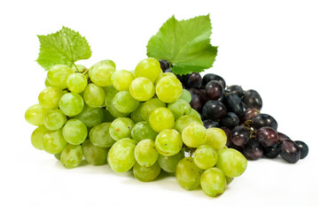 bunch of ripe green and red grapes