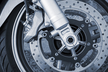 Motorcycle wheel with brake