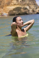 Woman having water pleasure