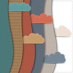 Fototapete - Textured paper banners with clouds