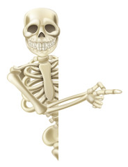 Pointing Cartoon Halloween Skeleton