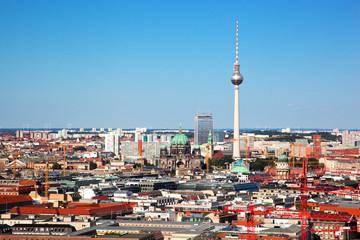 Berlin panorama. Berlin Catherdral and TV Tower