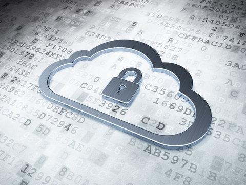 Cloud computing concept: Silver Cloud With Padlock on digital ba