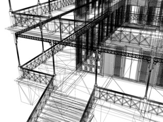 abstract modern architecture. 3d illustration on  white