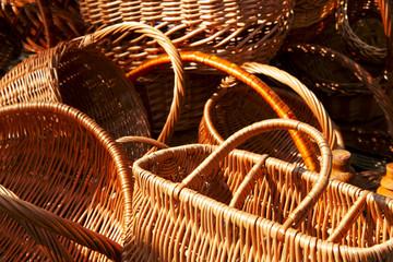fragments of empty wicker basket