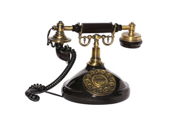 Old style phone isolated in white