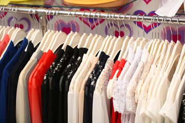 Clothes in shop, close up