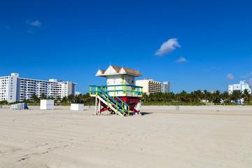 Lifeguard cabin on empty beach, Miami Beach, Florida, USA, safet