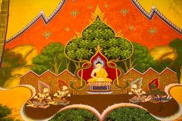 Thai style painting at temple